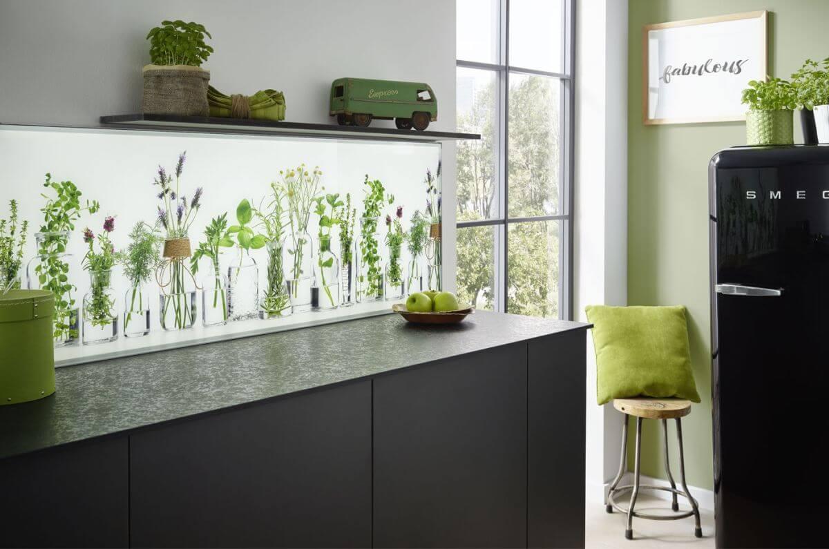 Gruene Pflanze Glas Rueckwand
