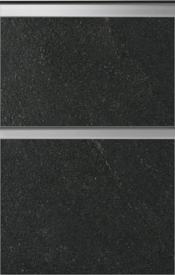 Grifflose Küchenfront in Steinoptik und Betonoptik von Bauformat Roca