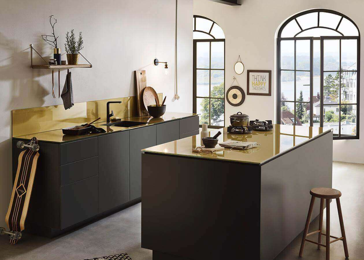 Inspiration Glas Arbeitsplatte Brass2 Gold